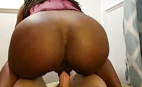 Masked Ebony Blows, Rides, and takes a Cumshot
